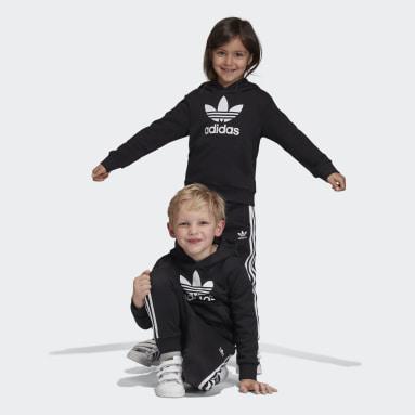 เด็ก Originals สีดำ ชุดเสื้อฮู้ดและกางเกง Trefoil