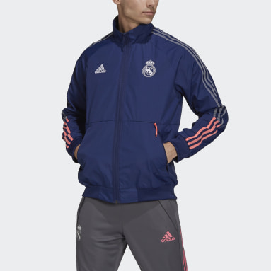 Men Soccer Blue Real Madrid Anthem Jacket