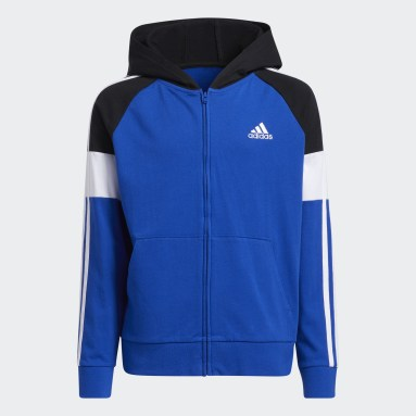 Youth Training Blue Colorblock French Terry Hooded Jacket