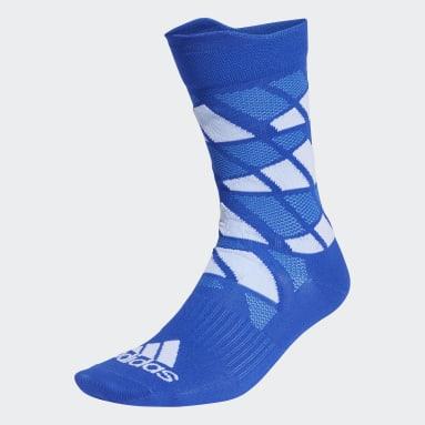 Sports Blue Ultralight Allover Graphic Crew Performance Socks