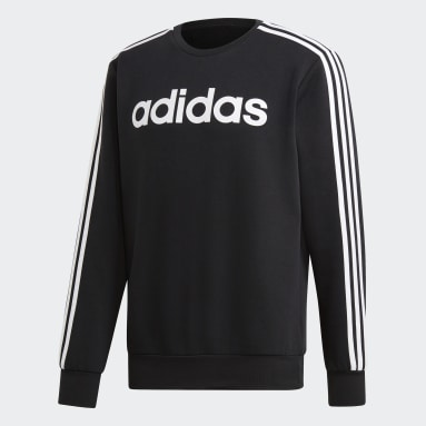 Men Gym & Training Black Essentials 3-Stripes Sweatshirt