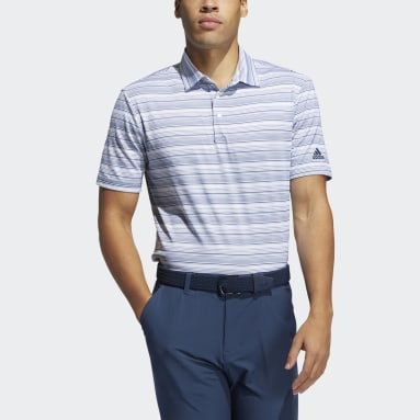 Men Golf Blue Heather Snap Polo Shirt
