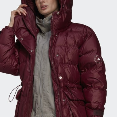 Women adidas by Stella McCartney Burgundy 2-in-1 Mid Length Padded Jacket