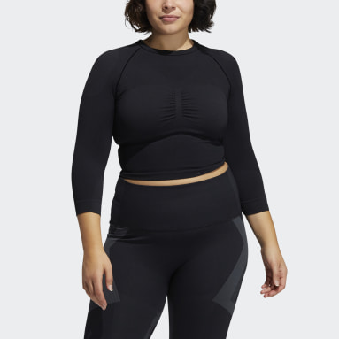 Women's Yoga Black Formotion Cropped Training Tee (Plus Size)