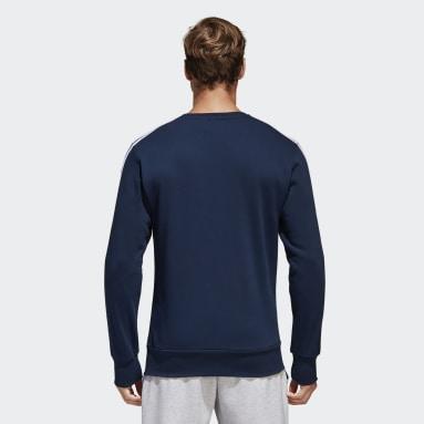 Sweat-shirt Essentials3-Stripes Bleu Hommes Fitness Et Training