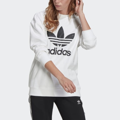 Sweat-shirt Trefoil Crew blanc Femmes Originals