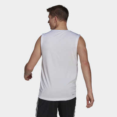 Men Gym & Training White AEROREADY Designed To Move Sport 3-Stripes Tank Top