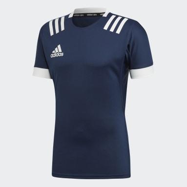 Men Rugby Blue 3-Stripes Jersey