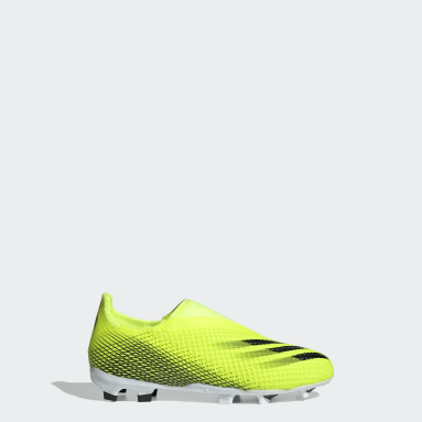 Children Soccer Yellow X Ghosted.3 Laceless Firm Ground Cleats