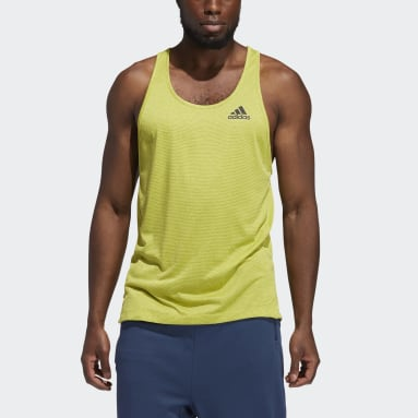 Men Yoga Yellow AEROREADY 3-Stripes Flow Primeblue Tank Top