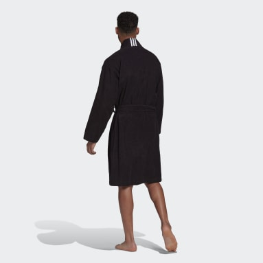 Swimming Black Cotton Dressing Gown