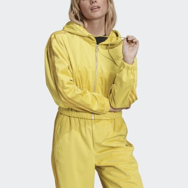 Women Originals Yellow Hooded Track Top