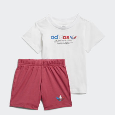 Barn Originals Vit Adicolor Shorts and Tee Set