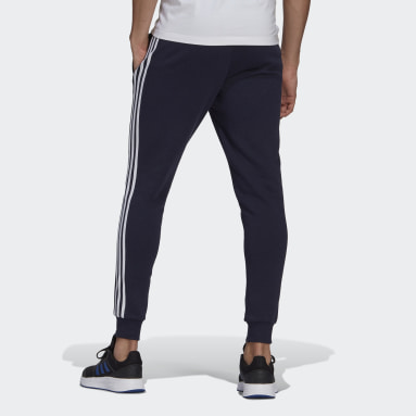 Heren Sportswear Blauw Essentials Fleece Fitted 3-Stripes Broek