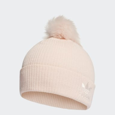 Women Originals Pink Faux Fur Pompom Beanie