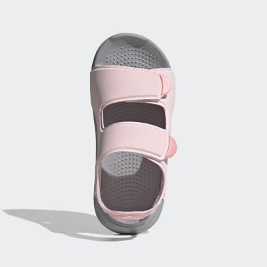 เด็ก ว่ายน้ำ สีชมพู รองเท้าแตะริมสระ