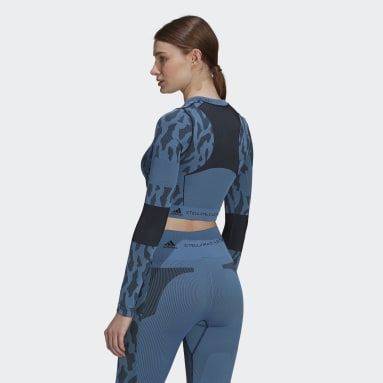 Camiseta corta adidas by Stella McCartney Truepurpose Seamless Azul Mujer adidas by Stella McCartney