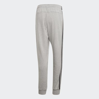 Men Sportswear Grey Essentials 3-Stripes Tapered Cuffed Pants