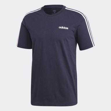 Erkek Training Mavi Essentials 3 Bantlı Tişört