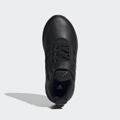 Kids Running Black FortaFaito Elastic Laces Top Strap Shoes