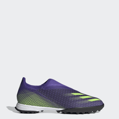 Men Soccer Purple X Ghosted.3 Laceless Turf Cleats