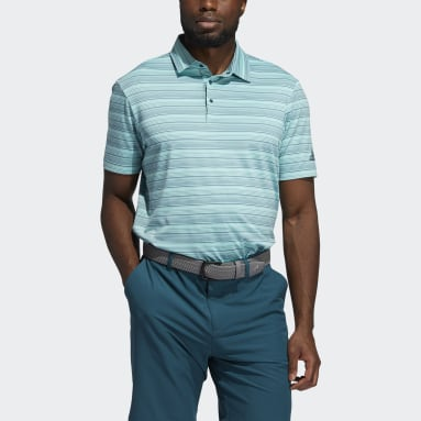 Men Golf Turquoise Heather Snap Polo Shirt