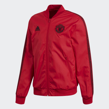 Men Football Red Manchester United Anthem Jacket