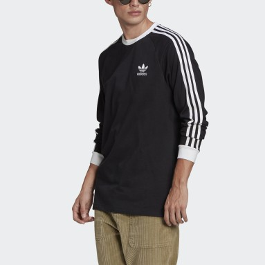 Men Originals Black Adicolor Classics 3-Stripes Long-Sleeve Top