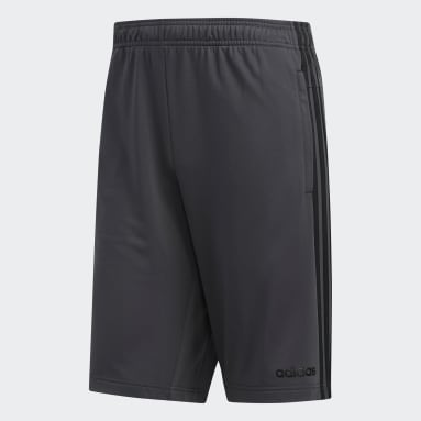 Men's Running Grey Essentials 3-Stripes Shorts