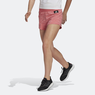 Frauen Sportswear adidas Sportswear Badge of Sport Allover-Print Shorts Rosa