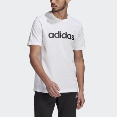 Men Sport Inspired White Essentials Embroidered Linear Logo Tee