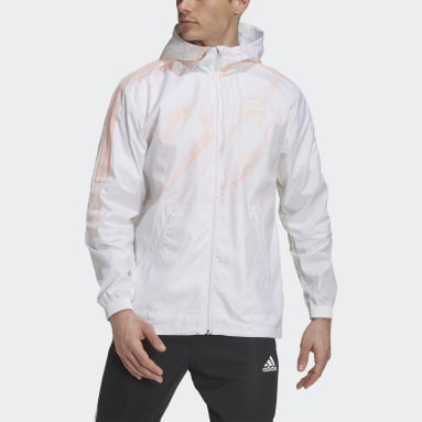 Men Football White Arsenal Windbreaker