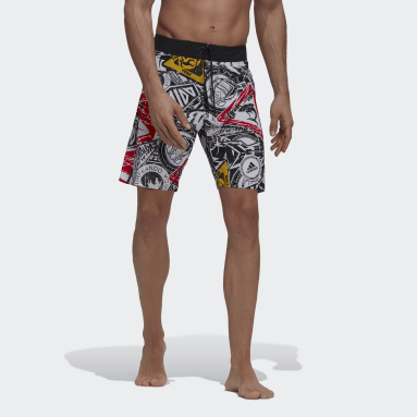 Men Swimming Black Graphic Board Shorts