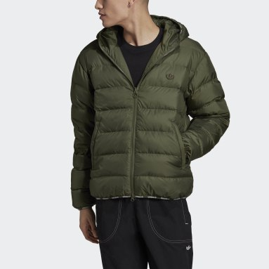 Men Originals Green LW Down Zip Through Puffer Jacket (Reversible)