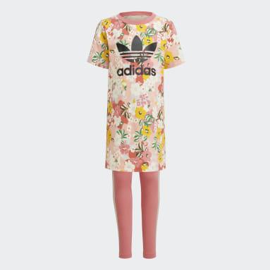 Meisjes Originals Roze HER Studio London Floral T-shirt Jurk Setje