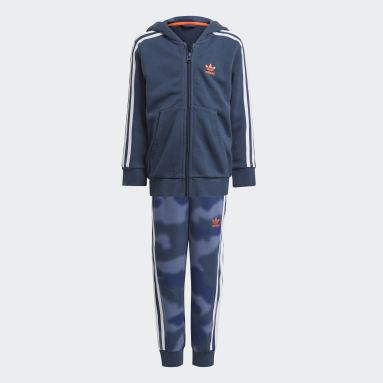 Chlapci Originals modrá Súprava Full-Zip Camo Print Hoodie