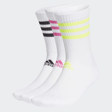 Cricket White 3-Stripes Cushioned Crew Socks 3 Pairs