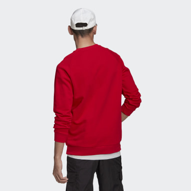 Men Originals Red LOUNGEWEAR Trefoil Essentials Crewneck Sweatshirt