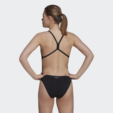 Women Swimming Black Sports Performance Solid Swimsuit