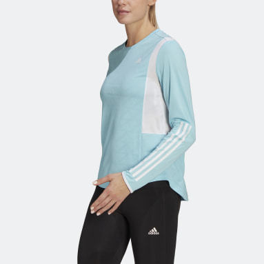 T-shirt Own The Run 3-Stripes Running Blu Donna Running