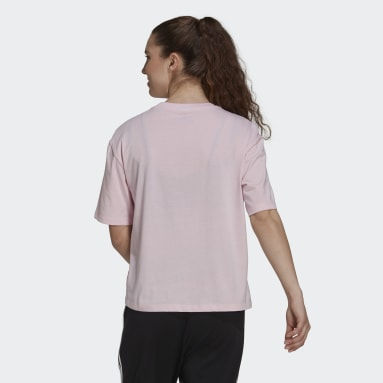 Women Sport Inspired Pink Soft Floral Logo Graphic Tee