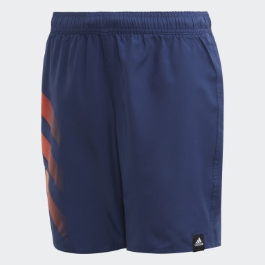 Boys Swimming Blue Bold 3-Stripes Swim Shorts