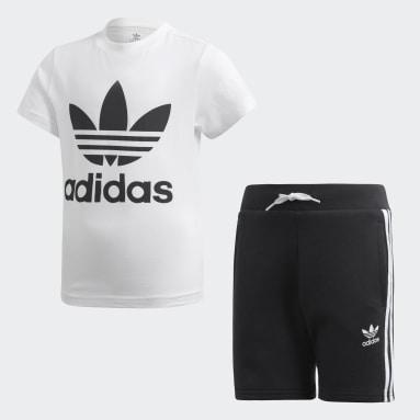 Children Originals White Trefoil Shorts and Tee Set