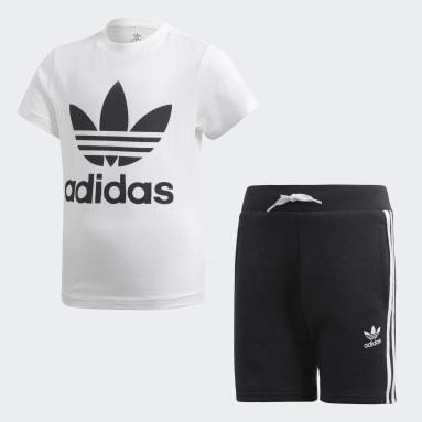 Boys Originals White Trefoil Shorts Tee Set