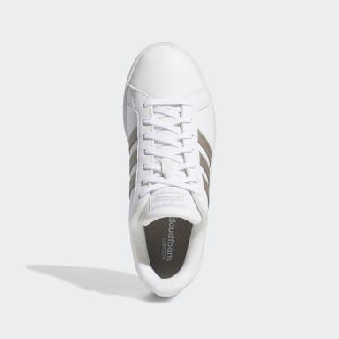 Women Walking White Grand Court Shoes