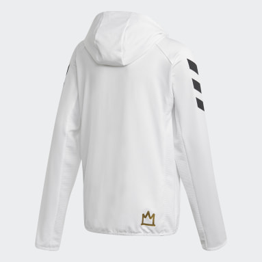Boys Gym & Training White Salah Football-Inspired Full-Zip Hoodie