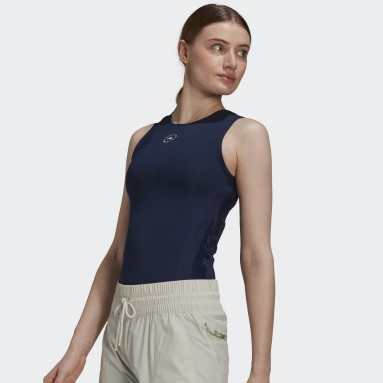 Women adidas by Stella McCartney Blue adidas by Stella McCartney Support Core Tank Top