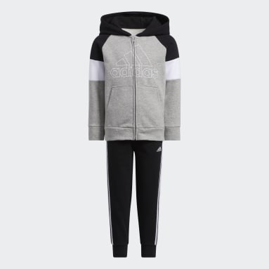 Children Training Grey Pieced Fleece Jacket and Joggers Set