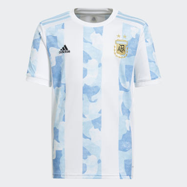 Kids Football White Argentina Home Jersey