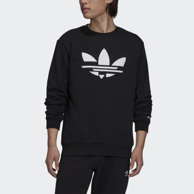 Men Originals Black Adicolor Shattered Trefoil Crewneck Sweatshirt